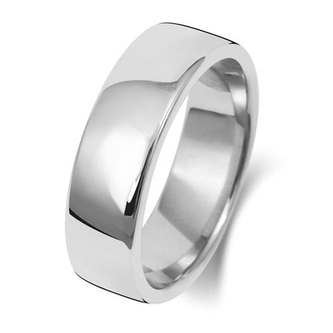 18ct White Gold 6mm Heavy Court Wedding Ring