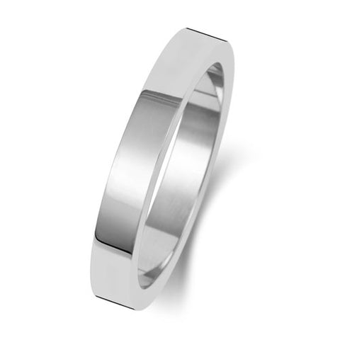18ct White Gold 3mm Medium Flat Wedding Ring