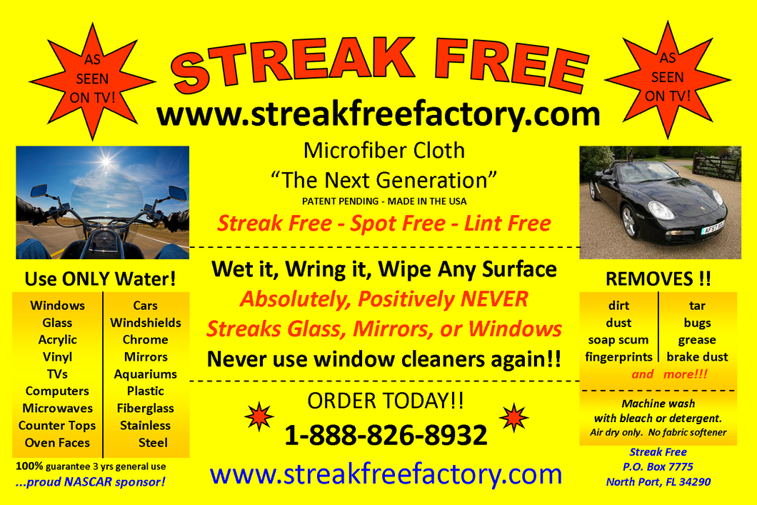 Streakfree cloth 16x16 (original)  (5cloths)