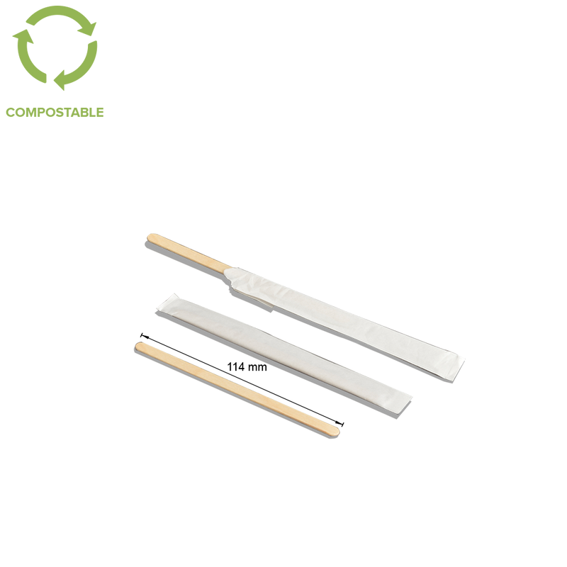Foodpack.green: 114mm Individually Wrapped Wood Stirrers