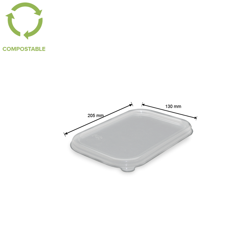 foodpack.green: coperchio trasparente in PLA 20x13 biodegradabile compostabile