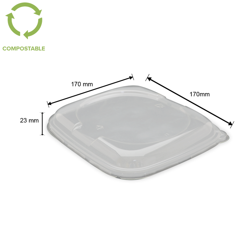 Foodpack.green: Coperchio Quadrato Impilabile in PLA 17x17 cm