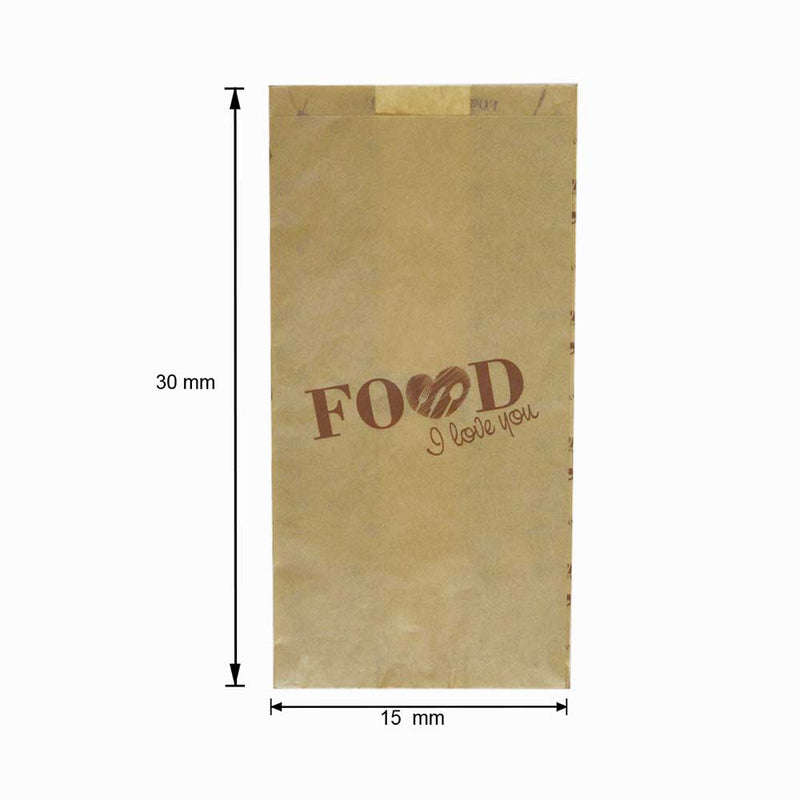 "Foodpack.green: Sacchetto in Carta ""Food I Love You"" 15x30 cm"