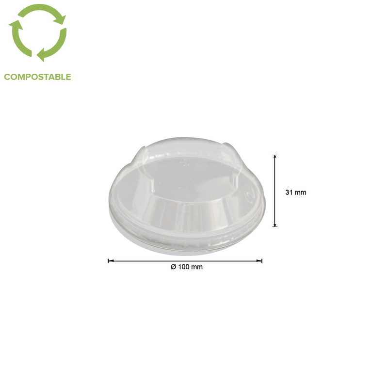 Foodpack.green: 300-400-500ml PLA Stackable Dome Lids - No hole