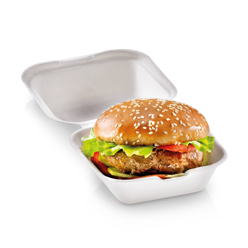 Foodpack.green: Contenitore box burger Quadrato small per panino. In Polpa di cellulosa compostabile