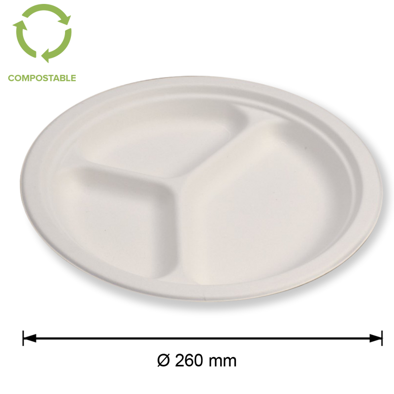 Foodpack.green: Piatto piano Standard 26 cm in polpa di cellulosa - tre scomparti