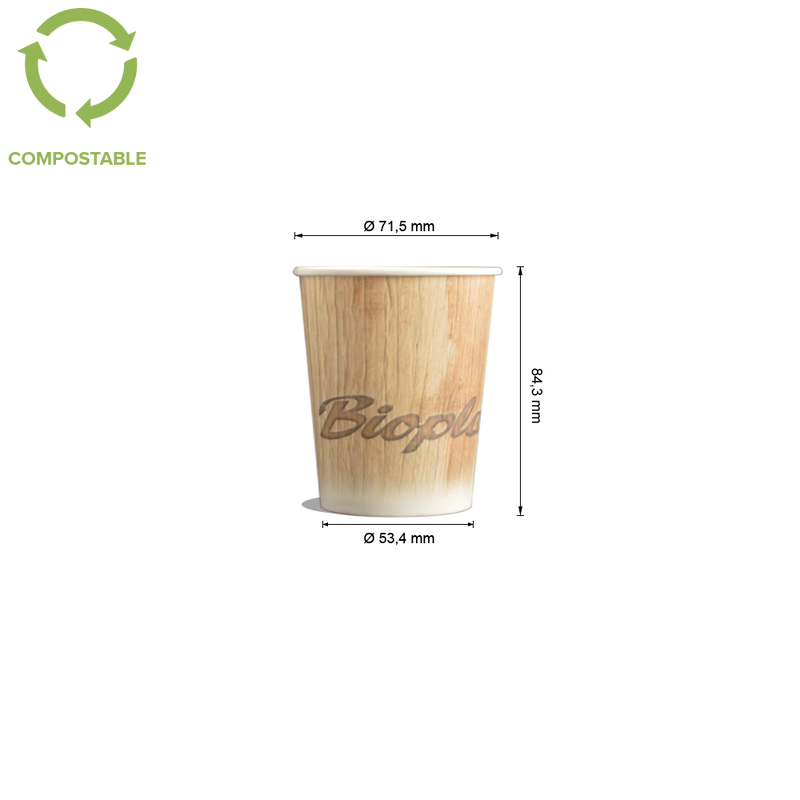 Foodpack.green: 6oz Palm Leaf Bio Single Wall Hot Cups - compostable and customisable.