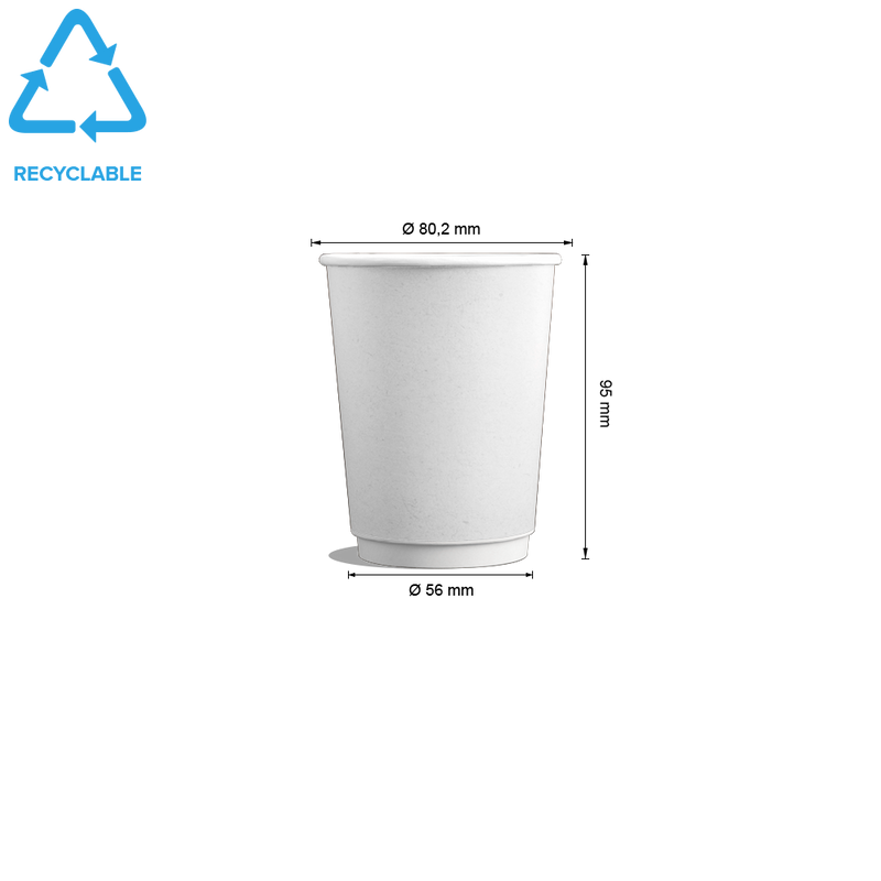 Foodpack.green: 9oz White Double Wall Cups. Ideal for hot beverages.