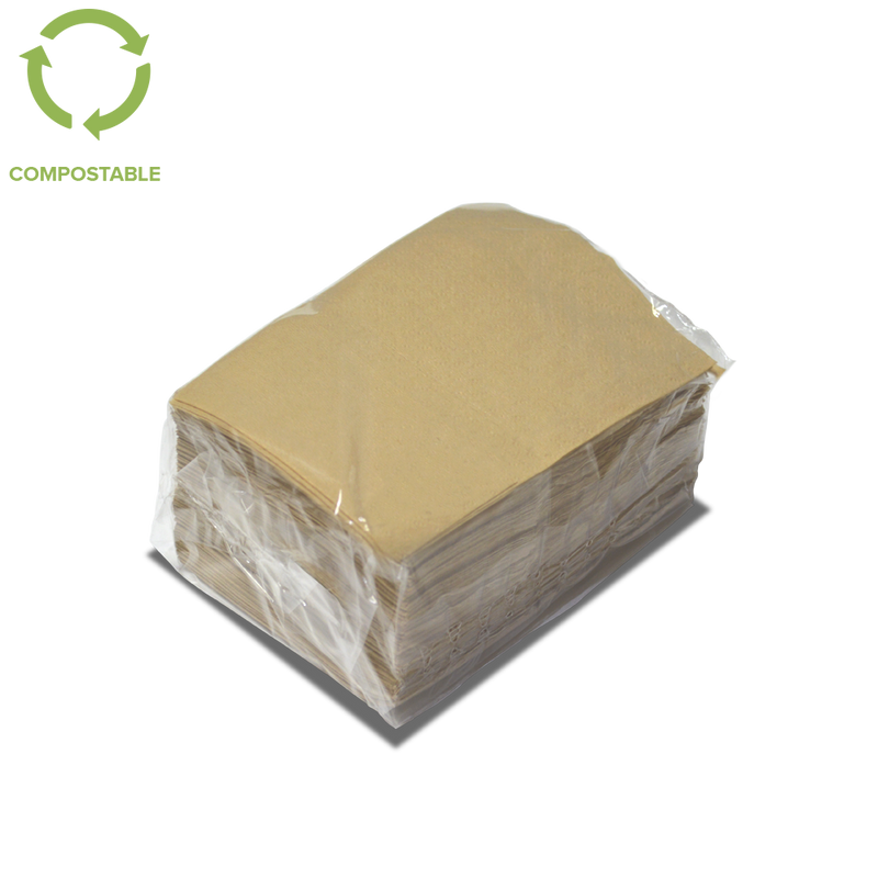 Foodpack.green: tovagliolo nature 17x17 neutro. Certificato compostabile. 1 velo, morbida. made in italy.