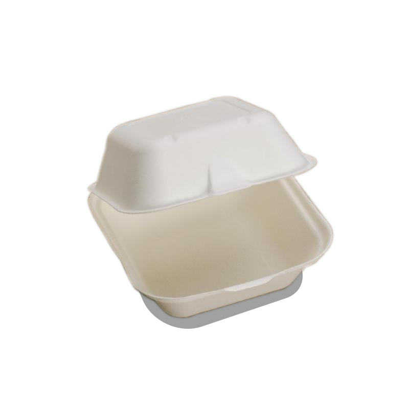 Foodpack.green: Contenitore takeaway Quadrato Large per panino. In Polpa di cellulosa compostabile