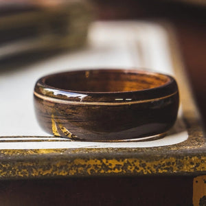 Mens Wedding band featuring Mahogany, Ebony, Guitar string inlay. - ringandgrove