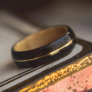 Mens Wedding band featuring Birds Eye Maple, Ebony with Brass Inlay. - ringandgrove