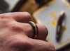Mens Wedding Band with Antler, Ebony, Whisky and Copper - ringandgrove