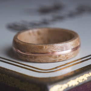 Mens Wedding band made from Birds eye Maple and Copper inlay. - ringandgrove