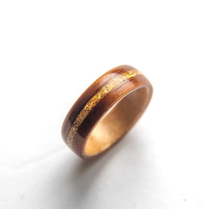 Mens Wedding Band featuring Birds Eye Maple, Koa with Gold Flake Inlay. - ringandgrove