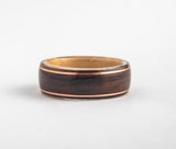 Mens Wedding band featuring Birds Eye Maple, Rosewood with Dual Copper Inlays