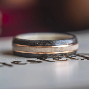 Mens Wedding band featuring Antler, Grey Maple and Copper - ringandgrove