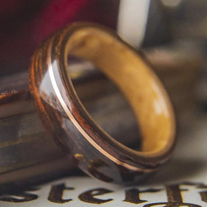 Mens Wedding Band featuring Birds Eye Maple, Rosewood with Offset Copper. - ringandgrove