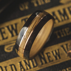 Mens Wedding Band featuring Whisky Oak, Ebony and Copper inlay