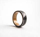 Mens Wedding band featuring Whisky Oak, Ebony with Offset Silver Inlay.