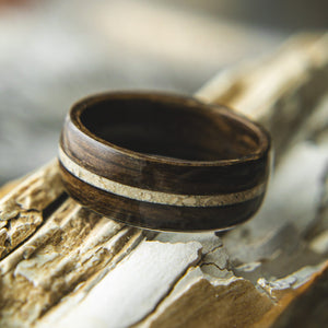 Mens Wedding band featuring Ancient Bog Oak with Woolly Mammoth Tusk inlay.