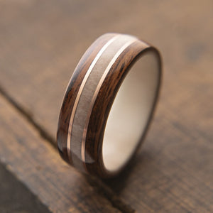 Mens Wedding band featuring Antler, Santos Rosewood and Copper