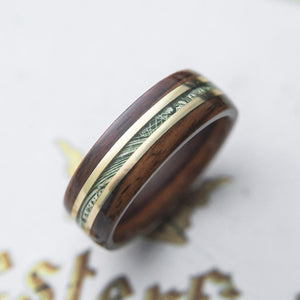 Mens Wedding Band Nicknamed The Cream.  featuring Cash Brass and Rosewood