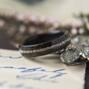 Womens Wedding band in Ebony with Centered German Glass
