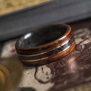 The King, Mens Wedding band  featuring Rosewood, Grey Maple with Dual Copper inlay