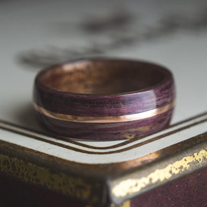 Mens Wedding band featuring Mahogany, Purple Heart with Copper inlay. - ringandgrove