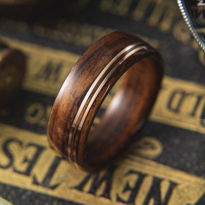 Mens wedding band made from santos rosewood with Double Offset Copper.