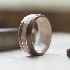 Mens Wedding Band with Antler, Walnut and Copper - ringandgrove
