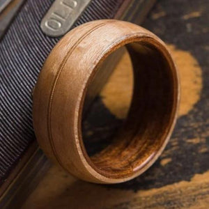 Mens Wedding Band featuring Koa, Birds Eye Maple with Guitar String Inlay. - ringandgrove