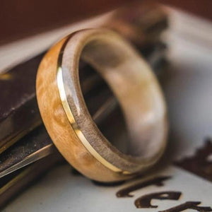 Mens Wedding Band featuring Antler, Birds Eye Maple with Brass Inlay. - ringandgrove