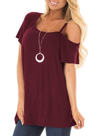 Plain One Shoulder Short Sleeves T-shirts
