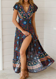 Bohemian Printed V-neck Knot Maxi Dress