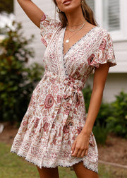 Boho Print V Neck Mini Dress