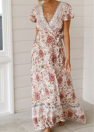 Bohemian V-neck Knot Printed Maxi Dress