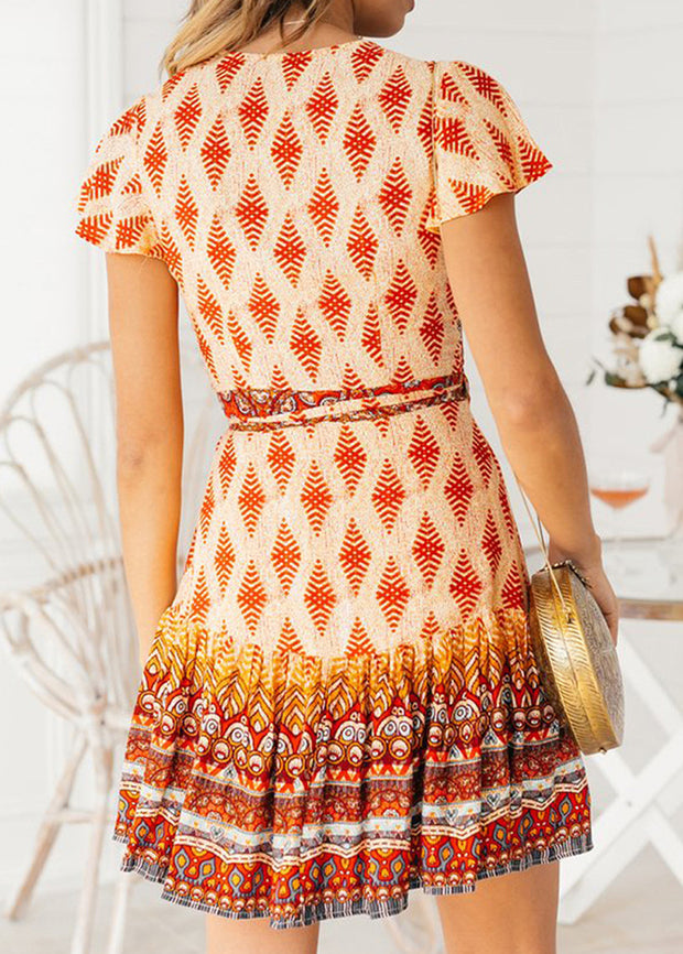Bohemian Ethnic Style Printed V-neck Dress