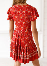 Boho Ethnic Style Printed V-neck Dress