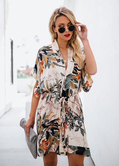 Leaf Printed V-neck Dress