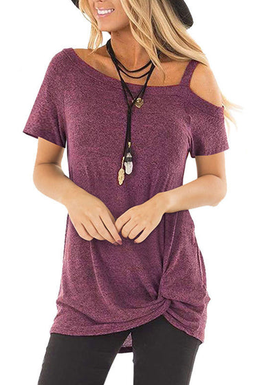 Crossed Front Design Plain One Shoulder Short Sleeves T-shirts