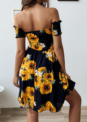 Printed Lotus Leaf Edge Short-sleeved Backless Dress