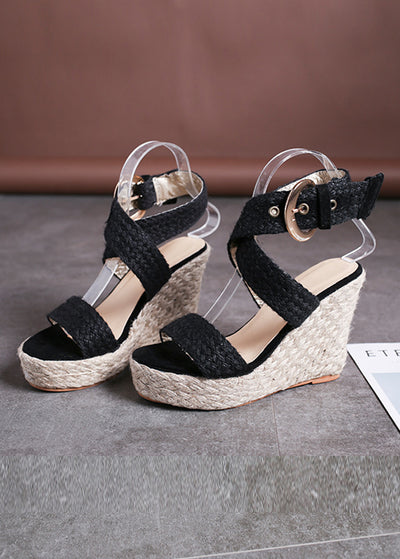 Linen-weave Sloping Heel Sandals