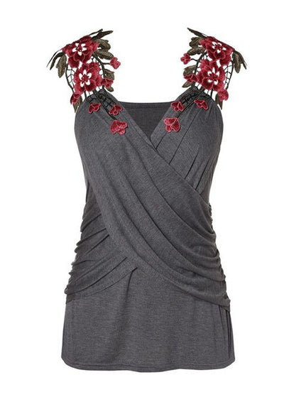 Decorative Stitched Sleeveless T-shirt