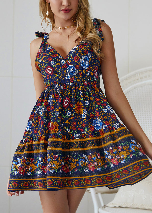 Boho Printed With Shoulder Bandage Dress