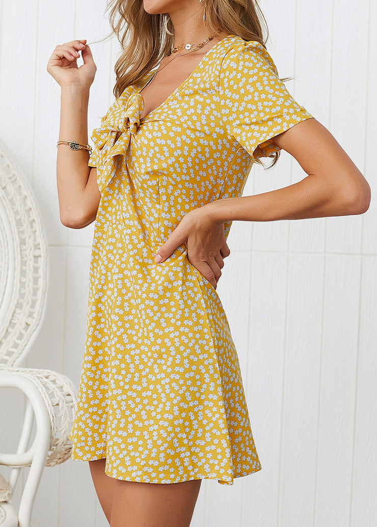 Floral Printed With Knot Front Boho Dress