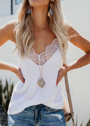 Stitching Lace V-collar Tops