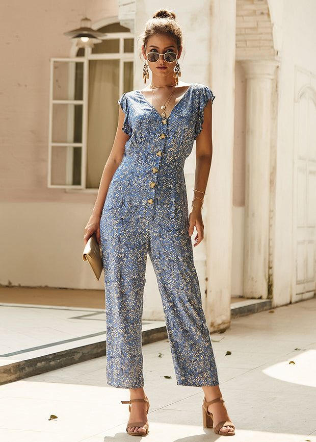 Fragment Printed Front Button Jumpsuits