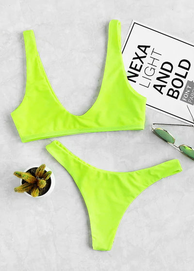 Neon Lime Top With High Leg Bikini